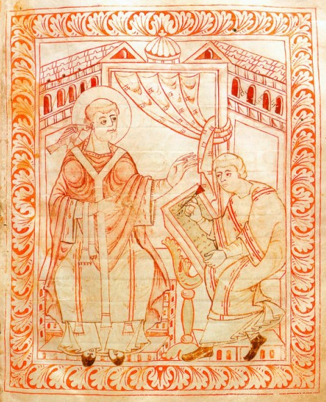 """Pope Gregory I (""""The Great"""") dictates the chant repertory."""