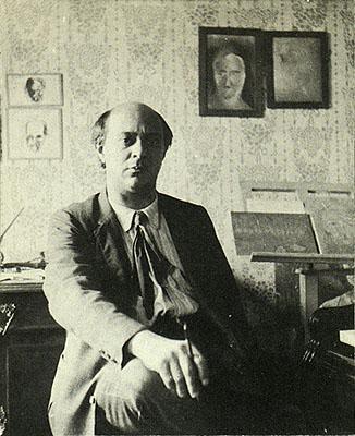 Arnold Schöenberg (1874-1951), den tidigt drivande i utvecklandet av den atonala musiken.